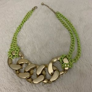 Jewelry - Gold and neon green statement necklace